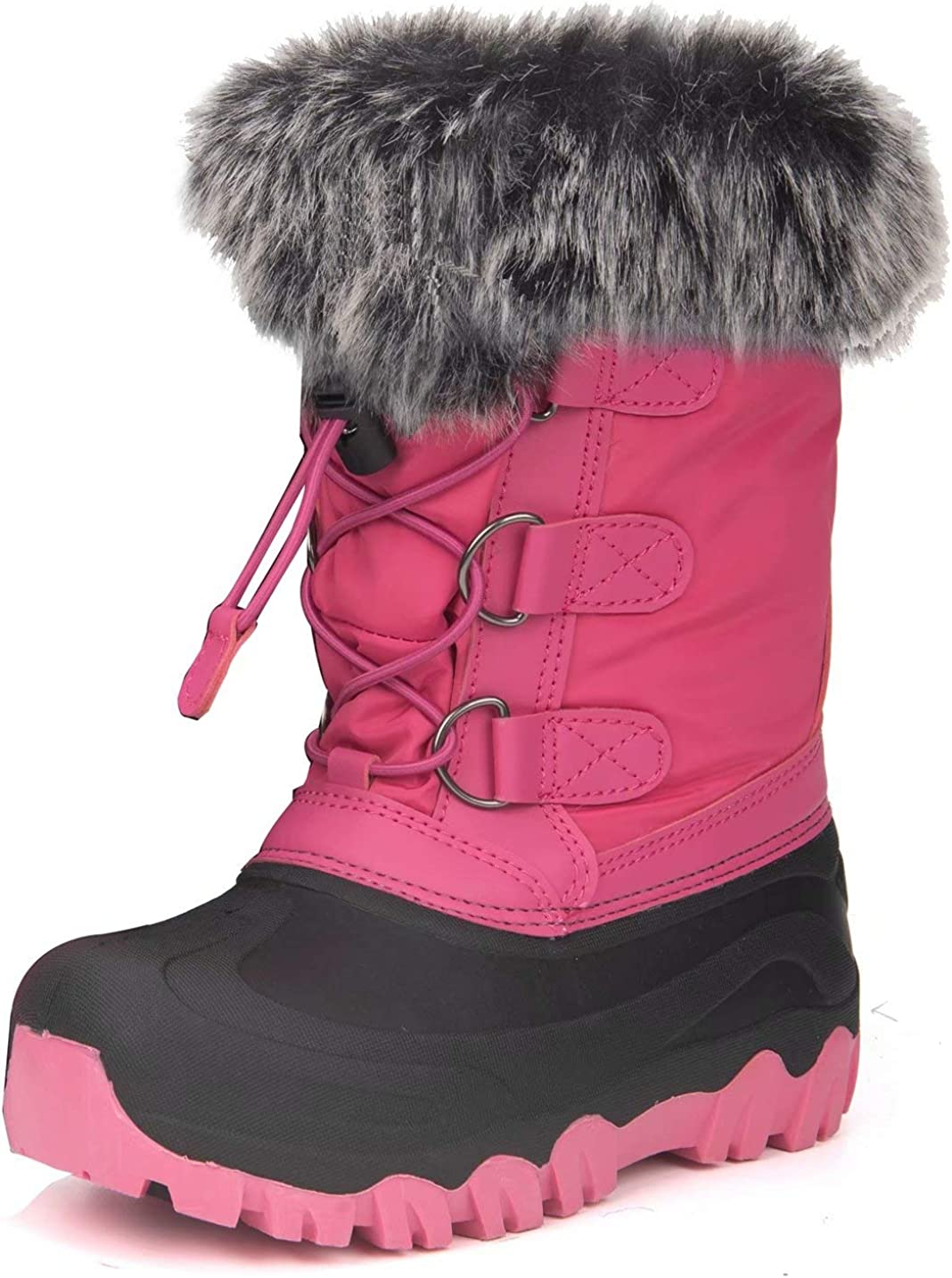 HugRain Warm Winter Max 74% OFF Snow Boots with for Fur Lined Faux Ranking TOP5 Toddler K
