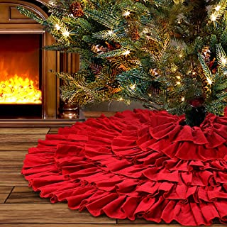 yuboo Red Ruffle Christmas Tree Skirt, 50 inches Burlap 6-Layer Rustic Xmas Tree Holiday Decorations (red)