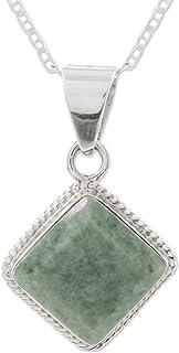 "NOVICA Jade .925 Sterling Silver Pendant Necklace, 18"" 'Maya Wisdom'"