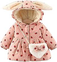 Baby Meisjes Winter Jas Konijn 3D Oren Aardbei Hooded Jassen Dikke Fluwelen Herfst Bovenkleding met Strik Tas
