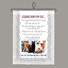 Heritage Lace Cat Lessons Wall Hanging, White