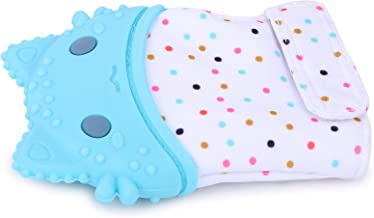 INFANTSO Baby Food-Grade Silicone Mitten Teether, Gloves Toy for Pain Relief Easy Teething, BPA-Free & Non-Toxic (Blue)