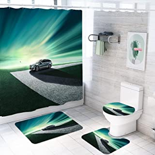 ZHEBEI 4 pieces shower curtain set car racing polyester shower curtain cover toilet cover bath mat carpet with hook bathro...
