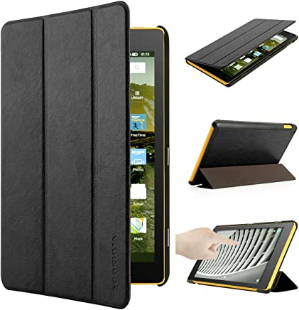 2017 All New Fire HD 8 Case with Smart Auto Wake up/Sleep,Oenbopo Leather Folio Smart Case Lightweight Standing Cover for All-New Amazon Fire HD 8 Tablet (7th Generation - 2017 release) (Black)