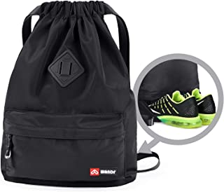 Drawstring Backpack with Shoe Pocket, String Bag Sackpack Cinch Water Resistant Nylon for Gym Shopping Sport Yoga
