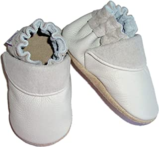 """Mini-Mocs""""Stone"""" Handmade In the USA Premium Leather Moccasins for Infants, Toddlers & Walkers"""
