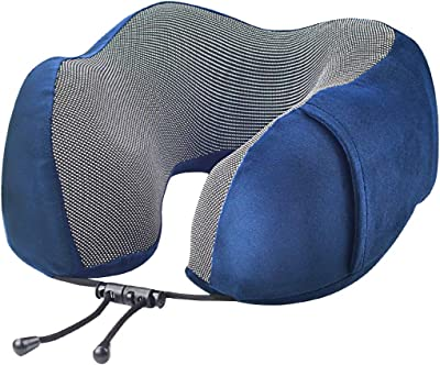 Travel Pillow, yeziwei 100% Pure Memory Foam Neck Pillow, Comfortable and Lightweight Neck Support Airplane Pillow with Soft Velour Cover, 3D Sleep Eye Mask, Earplugs and Compact Bag (Blue)