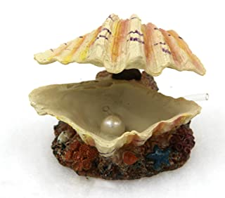 Abnaok Aquarium Shell Decoration, Tropical Clam Live-Action Ornament, for Fish Tank Aerating, Aquarium Oxygenated - Shell Pearl Air Stone Bubble Decoration