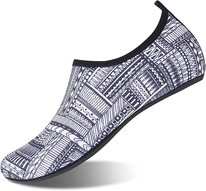 HMIYA Aqua Socks Beach Water shoes Barefoot Yoga Socks Quick-Dry Surf Swim shoes for Women Men (Geometric Print, 44 45EU)