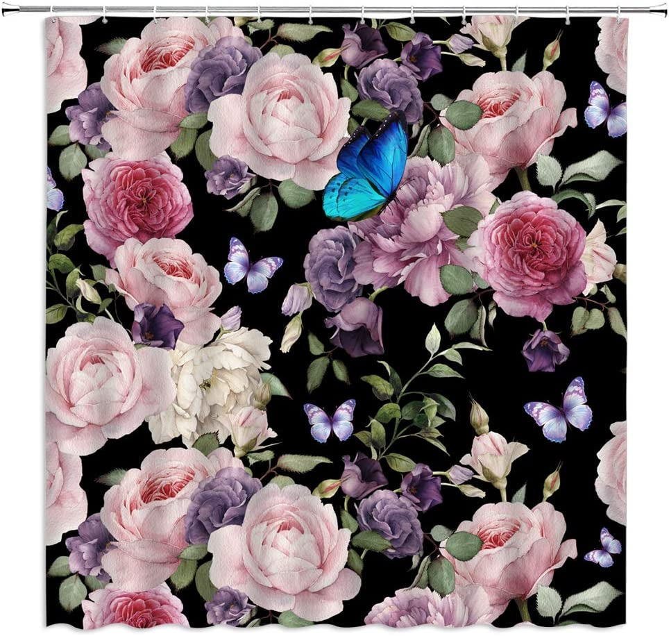 Black Floral Shower Curtain Retro Pink Rose Rustic Watercolor Flower Butterfly Plant Leaves Classical Vintage Spring Blooming Girly Colourful Chic Garden Fabric Bathroom Curtain Set with Hooks