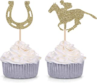 24 Kentucky Derby Cupcake Toppers Equestrian Horse Theme Party Picks Gold Glitter Party Supply