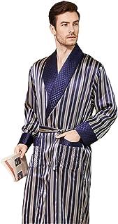 Pijamas de Seda para Hombre, camisón de Seda de Gusano de Seda a Rayas largas, Albornoces, Servicio a Domicilio, Engrosamiento, Primavera, otoño e Invierno