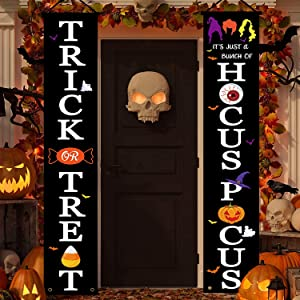 Halloween Decorations Outdoor Banner - Treat or Trick & Hocus Pocus Banner Porch Sign Hanging Flag for Halloween Decor, Halloween Welcome Sign For Front Door Outside Yard Garden Party Supplies