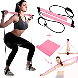 Portable Pilates Bar Kit with Resistance Band and Free Strength Bands Yoga Pilates Stick Muscle Toning Bar Home Gym Workout Exercise Bar with Foot Loop for Total Body Workout Stretch, Twisting