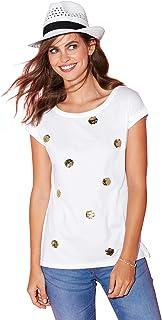 0e22f1af551 VENCA Camiseta Lentejuelas bidireccionales en el Delantero Mujer by  VencaSty - 022765