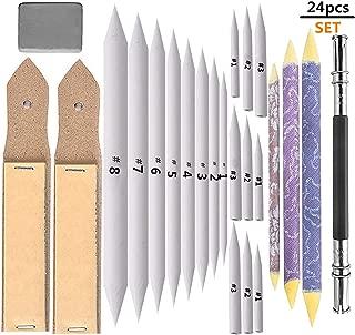 Yoker 20 Pieces Blending Stumps and Tortillions Set with 2 Pcs Sandpaper Pencil Sharpener 1 Pencil Extension Tool 1 Eraser for Art Blenders Student Sketch Drawing kit