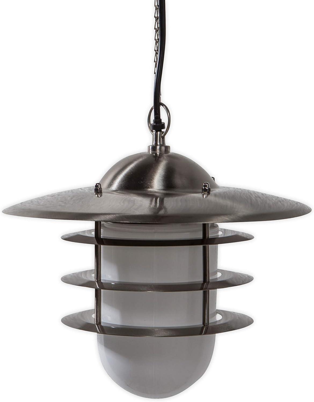Lampenwelt Auenleuchte 'Mian' (spritzwassergeschützt) (Modern) in Alu aus Edelstahl (1 flammig, E27, A++) - Pendelleuchte auen