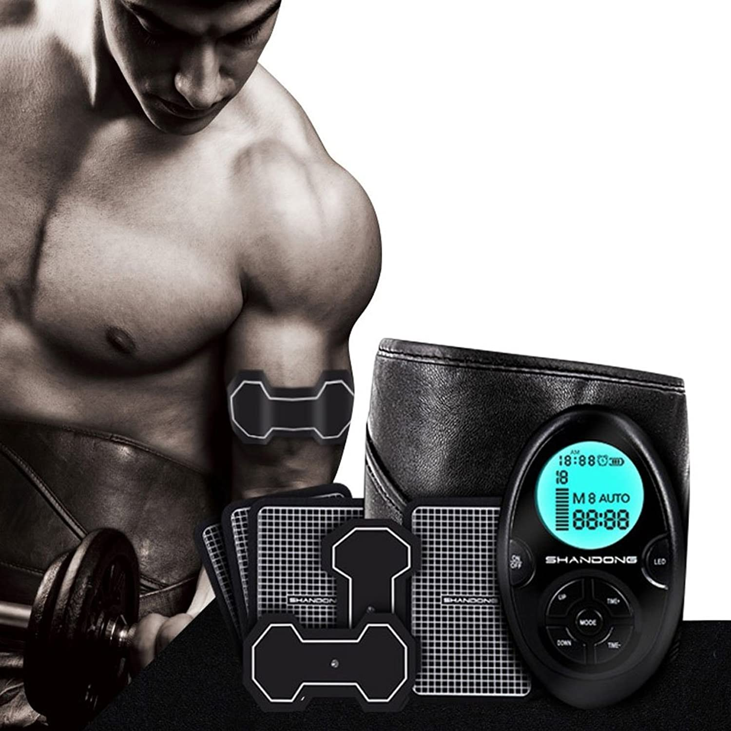 ABS Stimulator Abdominal trainer and abdominal simulator Abdominal training beltand muscle trainer Abdomen waist leg arm hip with9modesand10levels and USB charging, body fitness exercise equipment EMS