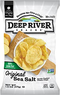 Deep River Snacks 50% Reduced Fat Kettle Potato Chips, Sea Salt, 1.5-Ounce (Pack of 24), Gluten Free