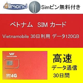 アーモンドSim4枚セットVietnamobile ベトナムプリペイドSIM 4G・3G 30日利用 データ容量120GB