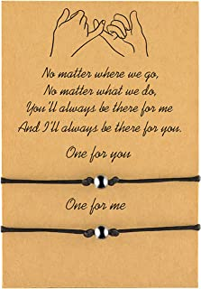 MANVEN Couples Bracelet Pinky Promise Boyfriend Girlfriend His and Hers Jewelry Best Friend Long Distance Relationship Matching Bracelets Set of 2