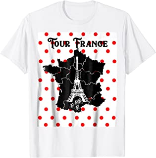 Tour France By Bicycle In 21 Days To Paris Polka Dot TShirt.