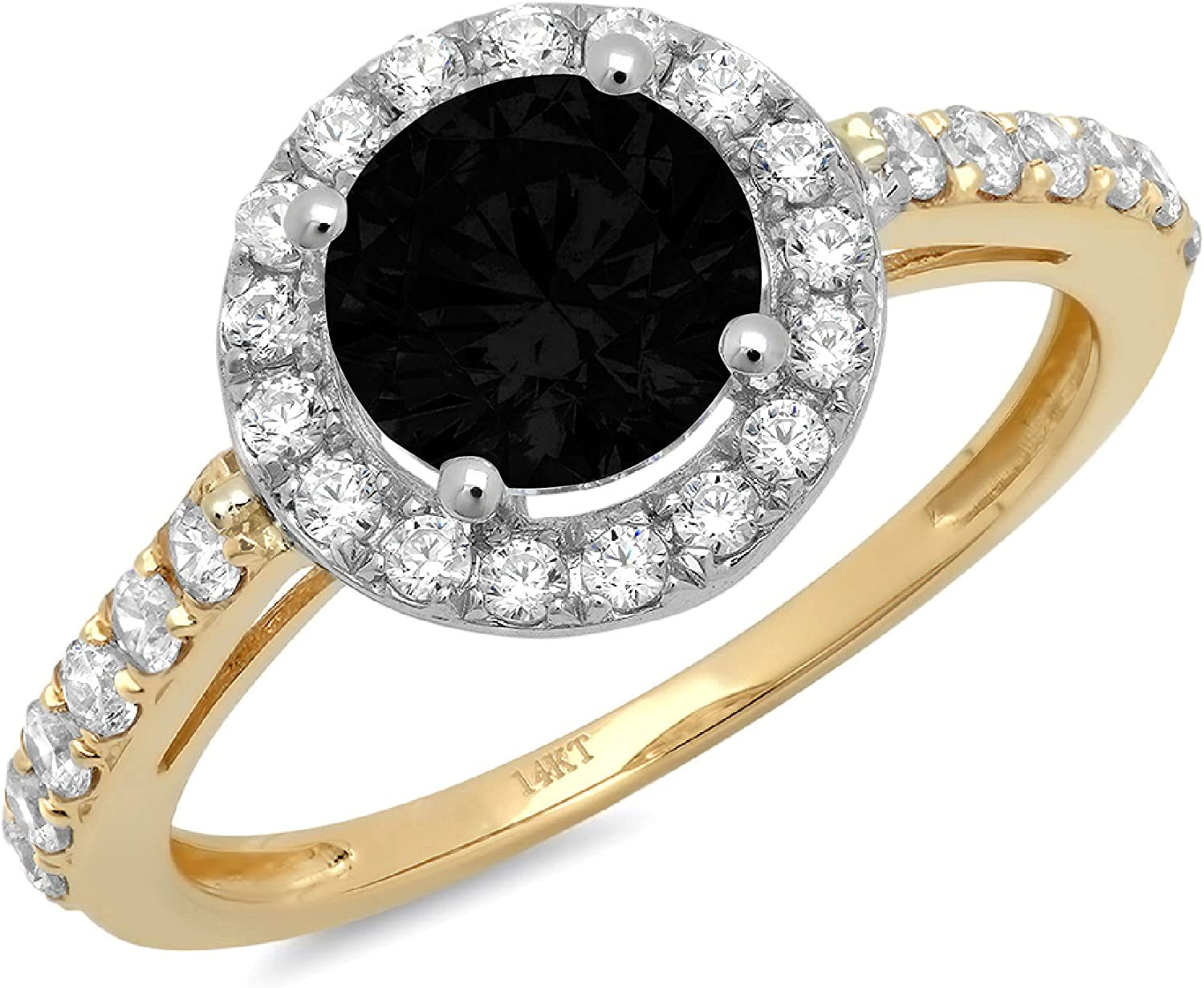 Clara Pucci 2.5 ct Round Cut Solitaire Accent Halo Stunning Genuine Flawless Natural Black Onyx Gem Designer Modern Statement Ring Solid 18K Yellow & White Gold
