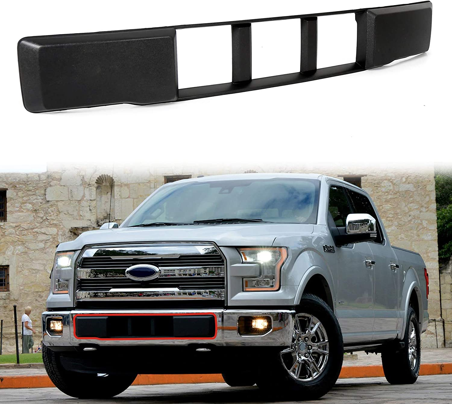 Buy Ecotric Compatible With Ford F 150 F150 2015 2016 2017 Front Bumper Lower Grille Trim Panel Black Replacment For Fl3z 17e810 Ca Online In Indonesia B07wt3glls