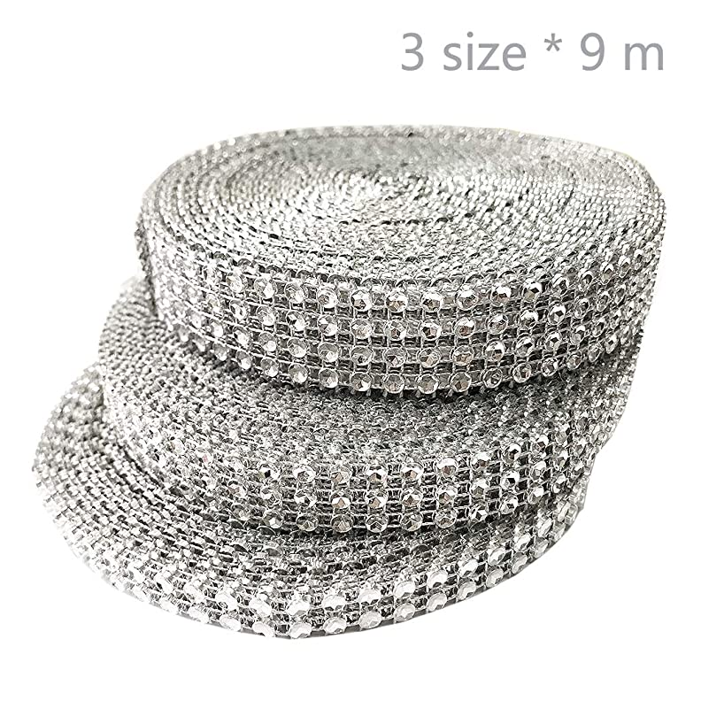 Jurxy 3 Roll Faux Rhinestone Crystal Ribbon Sparkling Plastic Diamond Mesh Wrap Adornment for Wedding Birthday Baby Shower Arts Crafts 4 Row 3 Row and 2 Row - Silver - 10 Yard/Roll