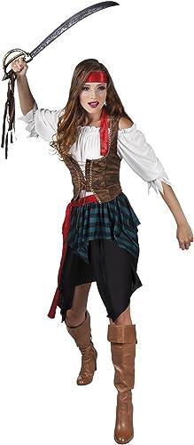 Fancy Ole - Damen Frauen Fashion Piratenkostüm mit Irregular Rock, Mehrfarbig, Größe M