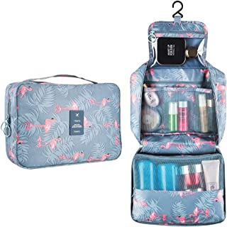 Hanging Travel Toiletry Bag Blibly Makeup Cosmetic Organizer Bag for Woman and Girls Bathroom and Shower Organizer Bag Waterproof (10.6x7.3x3.3 inch, Light Blue(Flamingo))