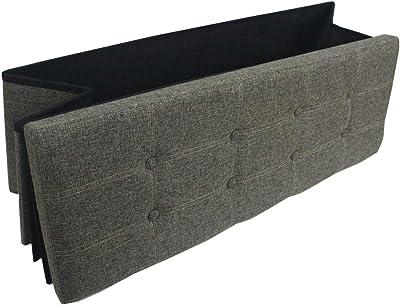 "Premium Dusty Grey Linen Folding Ottoman Foot Rest Stool Seat Footrest Shoe Storage Organizer Versatile Space-Saving Bench - Large 43 1/4"" × 15"" × 15"""