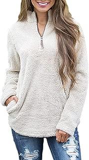 Zojuyozio Women Faux Fur Sweatshirts Casual Fall Fuzzy Pullover Long Sleeve Coat Outwear with Pockets