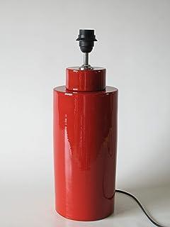 POLONIO Lampara Sobremesa Grande de Salon - 38 cm - Pie de Lámpara de Cerámica - Color Rojo Lacre