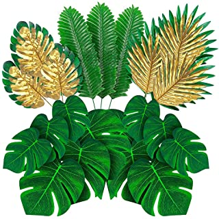 MAXZONE 66 Pieces 6 Kinds Artificial Palm Leaves with Faux Monstera Leaves Stems Tropical Plant Simulation Safari Leaves f...