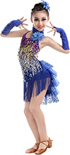 Girls Sequins Dance Outfits Latin Salsa Ballroom Costumes, 4-13Y