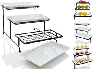Unique 3 Tier Mesh Serving Stand with Server Platters - Three White Porcelain Food Dessert Display Tray