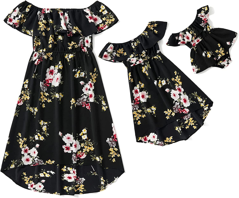PatPat Plus Size Mom & Me Off-Shoulder Flounce Floral Matching Dress Hi-Low Summer Chiffon Dresses