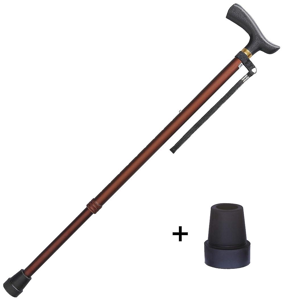 チップ後方に満足させるフジホーム ステッキ ブラウン 対応身長140~185cm ベーシック 伸縮式ステッキ S?M兼用 杖 (替えゴム付き) WB3901