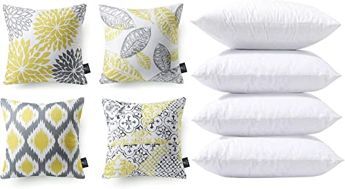 discount Phantoscope Bundles, Set of online 4 New Living Series Yellow and Grey Pillow Covers 18 x 18 inches & Set of 4 Pillow Inserts 18 x high quality 18 inches online sale