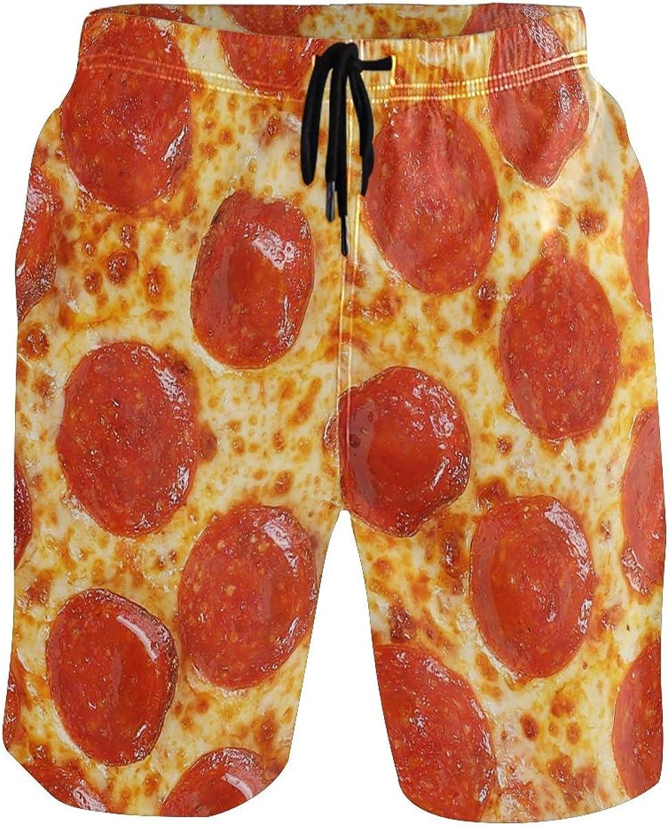 PLAO Mens Swim Trunks Original Pepperoni Pizza Slim Fit Quick Dry Short Swim Trunk with Mesh Lining