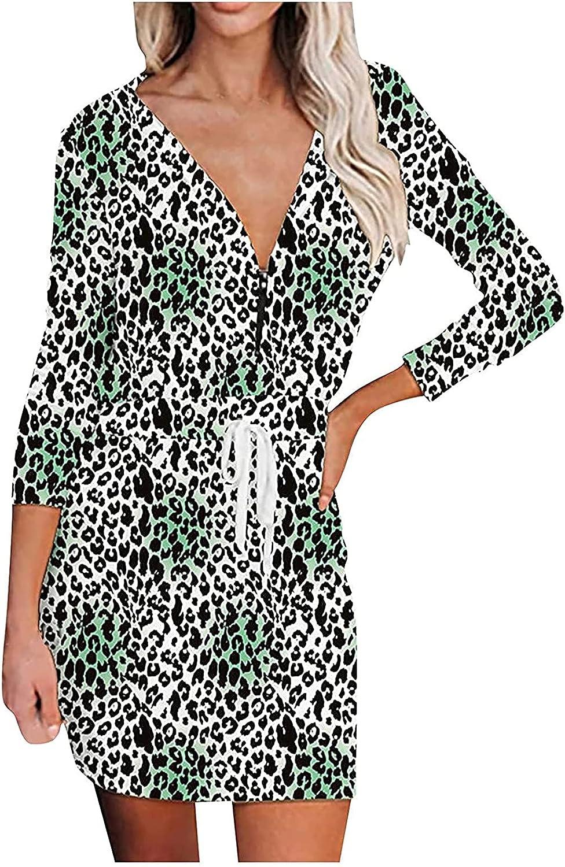 Kidyawn Women Tunic Dress V Neck Casual Zipper Long Sleeve Stripe Printed Loose Swing Shift Dresses