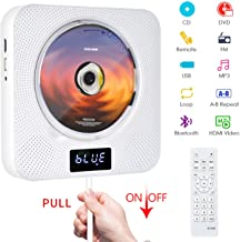 Portable DVD / CD Player with Bluetooth, Wall Mountable CD Music Player with Remote..