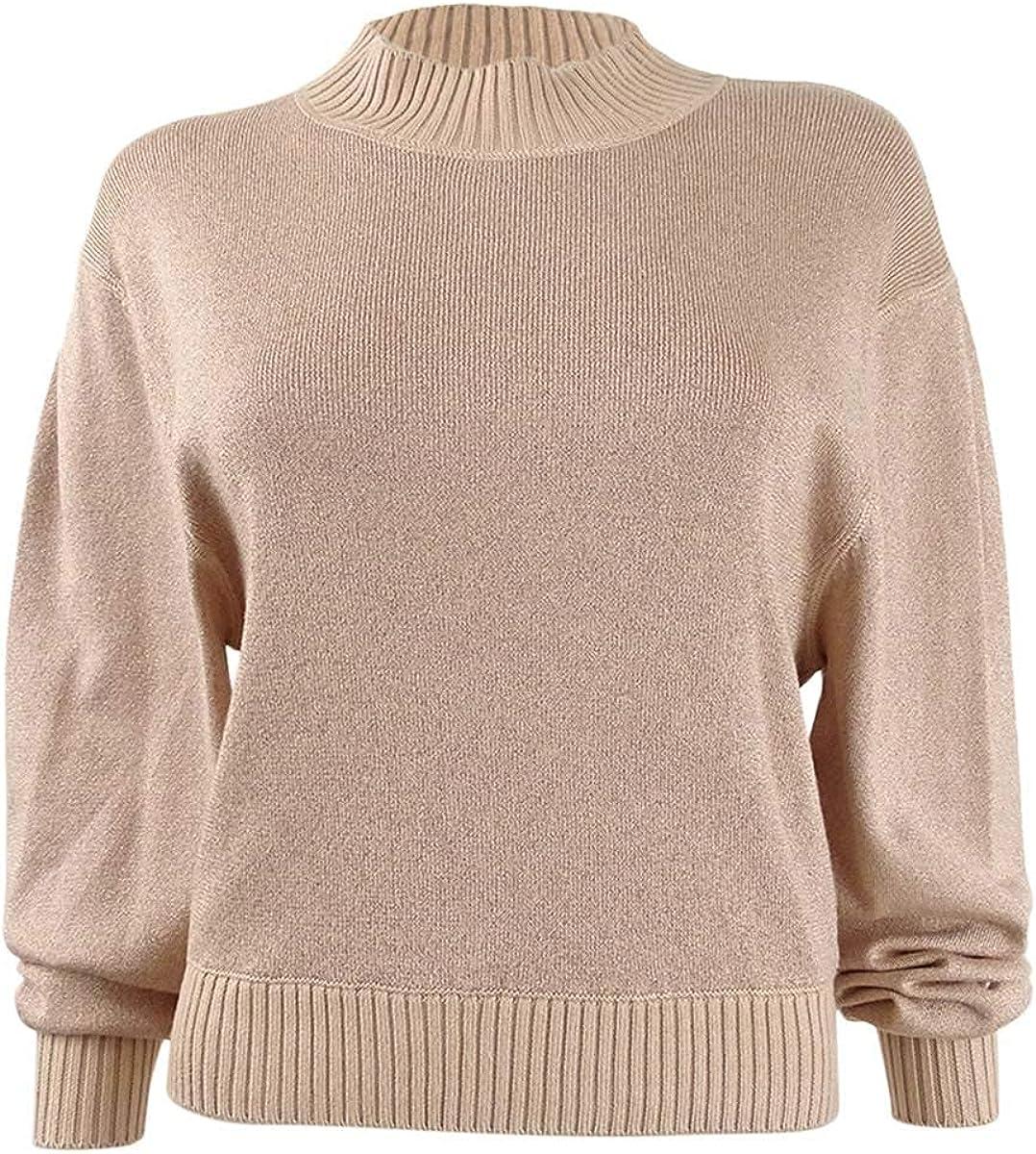 Free People Womens Starry Night Metallic Mock Turtleneck Sweater