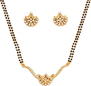 Gold Tone Indian Bollywood Ethnic White Rhinestones Pretty mangalsutra Necklace Set Jewelry for Women