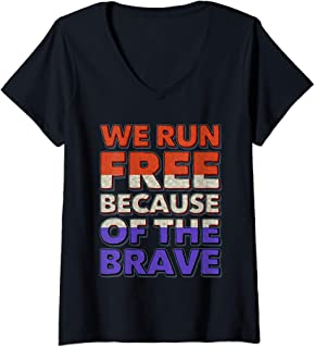 Womens We Run Free Because Of The Brave USA American Flag Running V-Neck T-Shirt