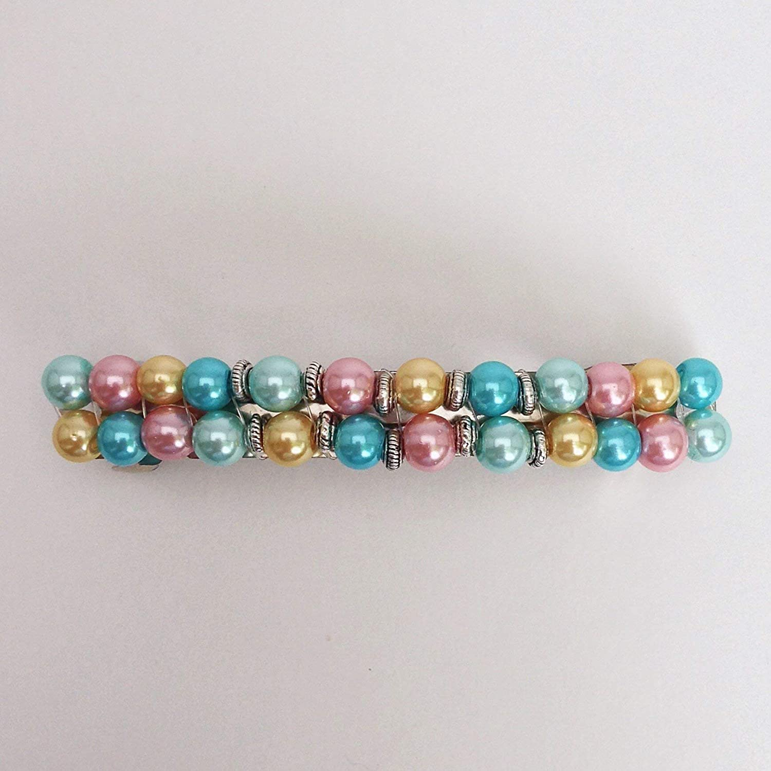 Pink Blue Beaded Hair Ultra-Cheap Deals Barrette Pearl Pastel Our shop OFFers the best service Clasp Cli Bead