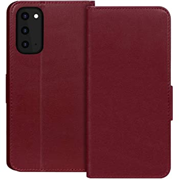 """FYY Case for Samsung Galaxy S20 5G 6.2"""" Luxury [Cowhide Genuine Leather][RFID Blocking] Wallet Case Handmade Flip Folio Case Cover with [Kickstand Function] and[Card Slots] for Galaxy S20 5G Wine Red"""