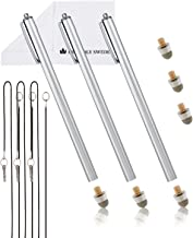 """The Friendly Swede Extra Long Replaceable Fiber Tip Stylus 7.3"""" - 3 Premium XXL Micro-Knit Capacitive Stylus Pens + Elastic Tether Lanyards & Spare Tips"""