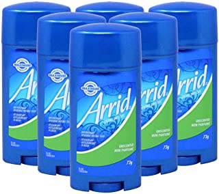 Arrid Extra Dry Antiperspirant Deodorant Unscented Invisible Solid Stick, 2.5 Ounce (Pack of 6)